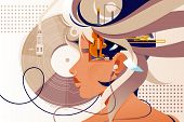 Flat Mind Vision With Music Instrument And Modern Device. Concept Woman Person Character With Headph poster