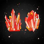 Red Crystal, Cartoon Cute Vector Quartz Illustration. Quartz Crystal Crown And Crystal Druse, Red Gr poster