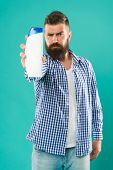 Bath Shower. Refreshing Affect. Personal Hygiene. Hair Care. Shampoo For Daily Use. Man Hold Shampoo poster
