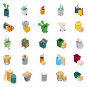 Rubbish Heap Icons Set. Isometric Set Of 25 Rubbish Heap Icons For Web Isolated On White Background poster