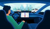Autonomous Smart Driverless Car Self Driving. Driver With No Hands On Steering. poster