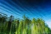 Summer Background Landscape - Reflection In The Water With Ripples. Trees Are Reflected. Minimalism, poster