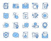 Approve Line Icons. Set Of Checklist, Certificate And Award Medal Icons. Certified Document, Accepte poster