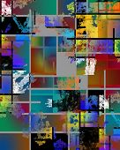 Modern geometric abstract. Mondrian Inspired. 3D rendering poster