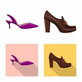 Vector Illustration Of Footwear And Woman Symbol. Set Of Footwear And Foot Stock Vector Illustration poster