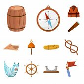 Vector Design Of Adventure And Sea Icon. Collection Of Adventure And Travel Stock Symbol For Web. poster