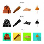 Isolated Object Of Journey And Seafaring Symbol. Set Of Journey And Vintage Vector Icon For Stock. poster