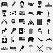 America Icons Set. Simple Style Of 36 America Icons For Web For Any Design poster