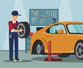 Worker With Wheel In Hand. Car Wheel Replacement. Wheel Change In Car. Service Station. Auto Service poster
