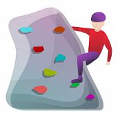 Indoor Wall Climbing Icon. Cartoon Of Indoor Wall Climbing Icon For Web Design Isolated On White Bac poster