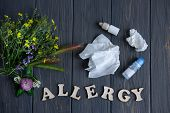 Conceptual Photo With Wildflowers, Nose Drops And Shawls. Allergy. Allergy Drops. Seasonal Allergy T poster