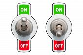 Toggle Switches On And Off 3d Rendering Isolated On White Background poster