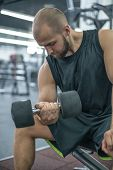 Bodybuilder Working Out With Dumbbell Weights At The Gym.man Bodybuilder Doing Exercises With Dumbbe poster