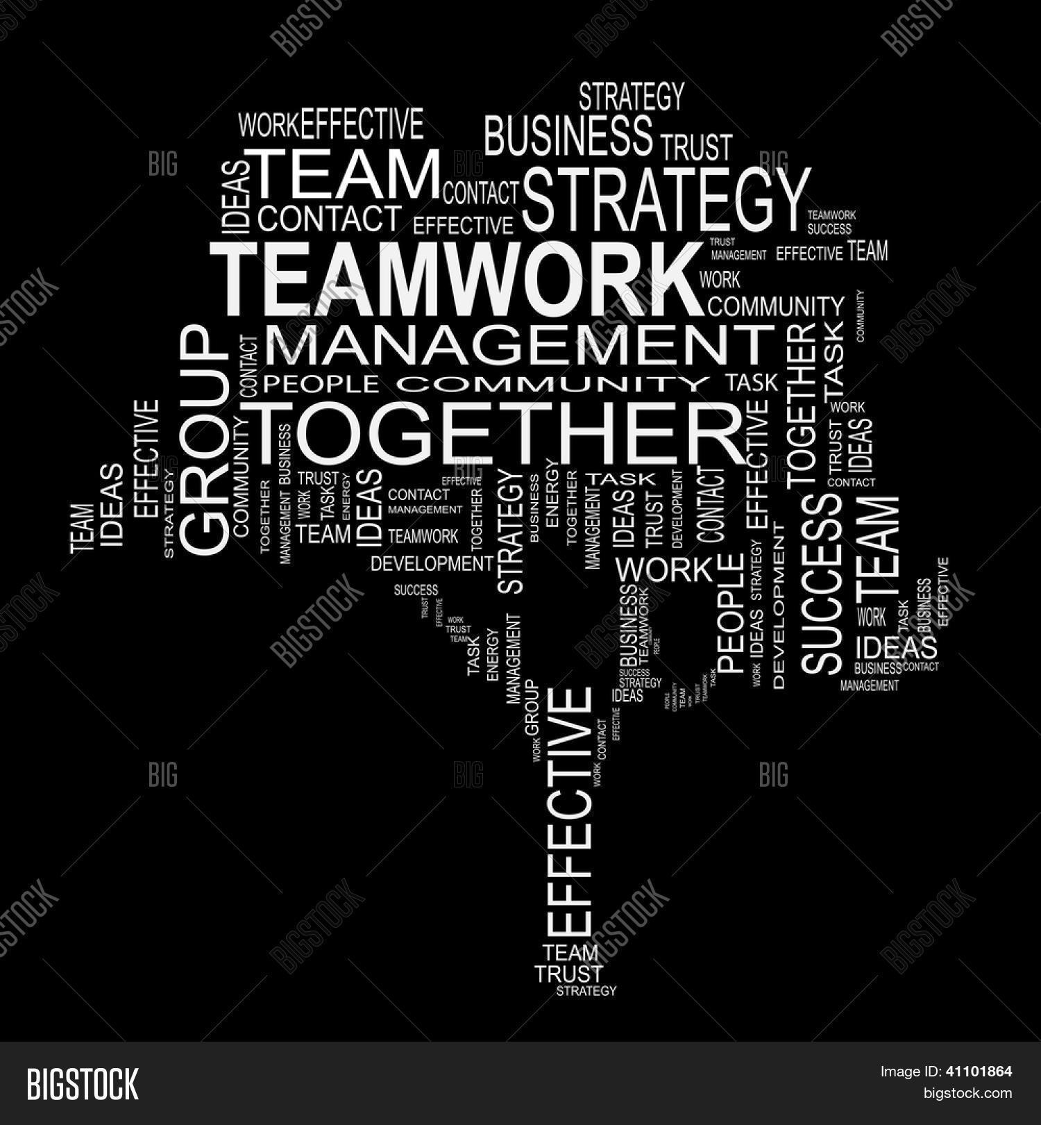 Conceptual White Tree Made Of Text Teamwork As Wordcloud Isolated On Black Background Stock