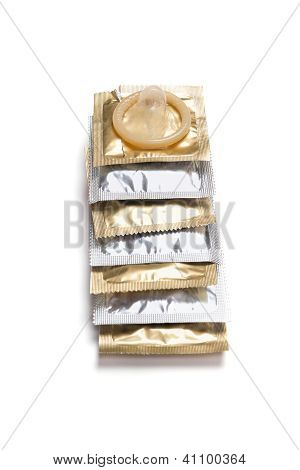 Condom Packs On A White Background
