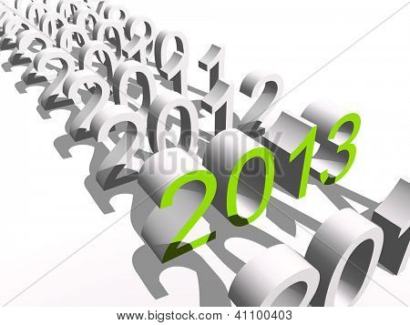 Conceptual 3D green 2013 year text standing out of the crowd isolated on white background