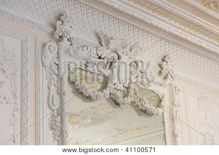 White Antique Mirror Frame Molding