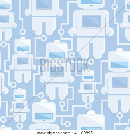 Network of robots seamless pattern background