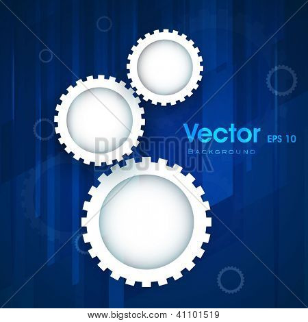 Abstract business blue background with cog wheel. EPS 10.