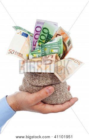 Euro Banknotes In Small Burlap Sack