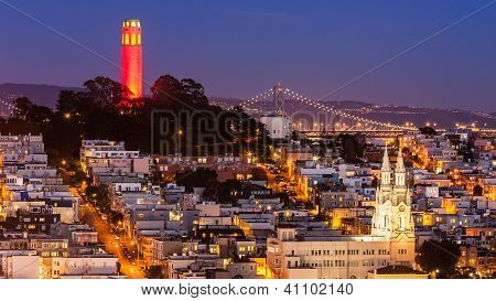 Coit Tower And St. Peter And Paul Church