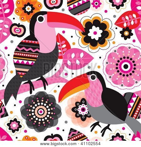 Seamless retro tucan toucan floral kids pattern wallpaper background in vector