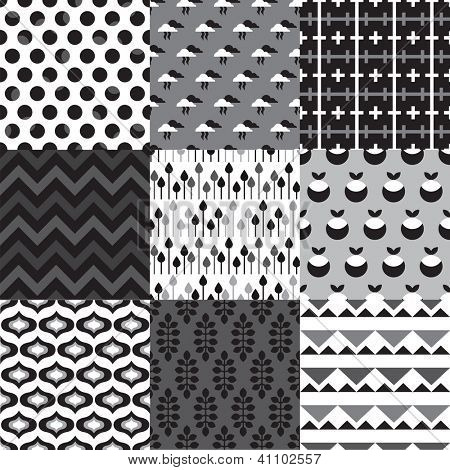 Seamless black and white retro isolated shape and silhouette background pattern in vector