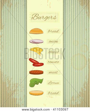 Vintage Hamburgers Menu