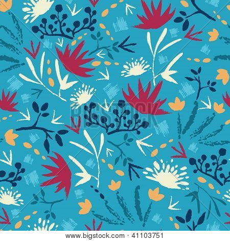 Painted abstract flowers and plants seamless pattern background