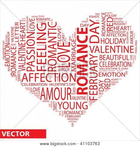 Vector concept or conceptual red wordcloud or text romance in shape of heart isolated on white background