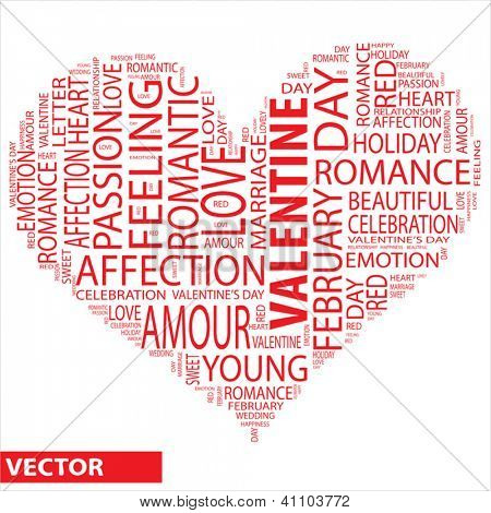 Vector concept or conceptual red wordcloud or text valentine in shape of heart isolated on white background