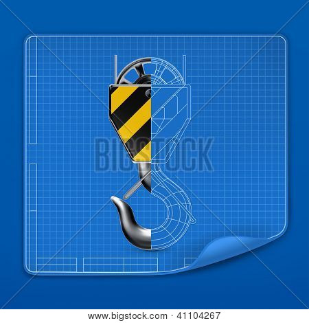 Lifting hook drawing blueprint, bitmap copy