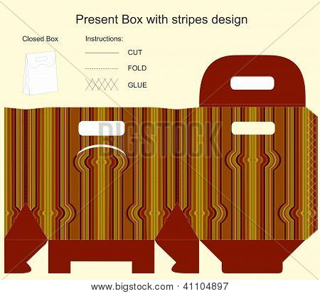 Template For Gift Box With Stripes Design