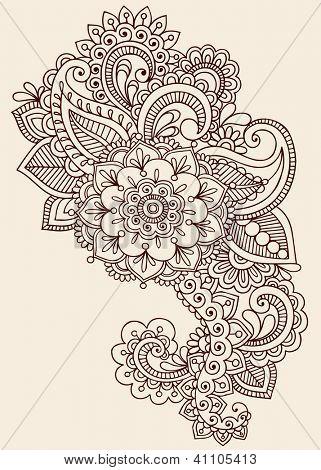Tatuaje de henna Paisley flores Mehndi Doodles elementos de diseño Floral ilustración diseño - Resumen