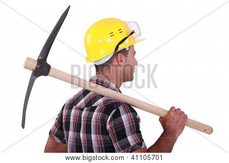 A man with a pickaxe.