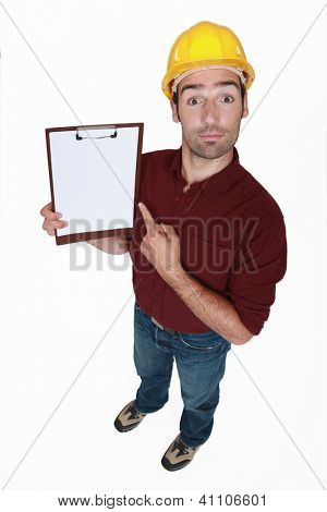 Chirpy builder pointing to clip-board