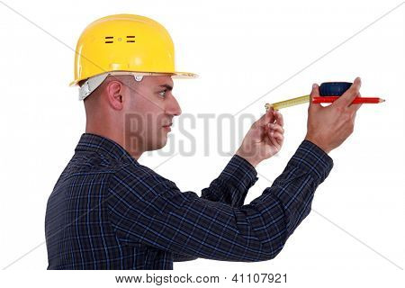 Man watching his measuring tape