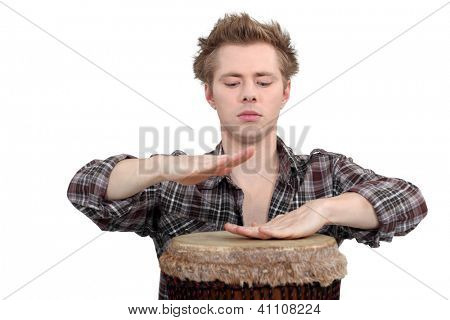 Man playing the bongos