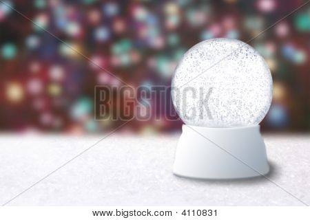 Empty Snow Globe On A Christmas Blurry Background
