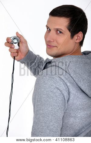 Sporty man with a stopwatch
