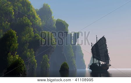 Fishing boat near the island.