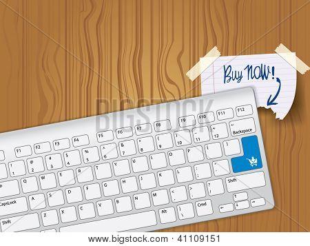 Buy now - blue key computer keyboard