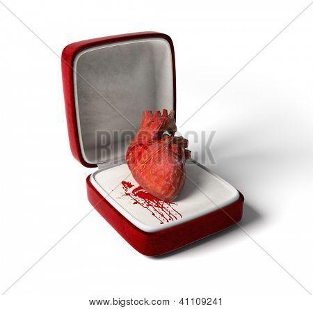 anatomische hart als een geschenk van liefde (3D concept)