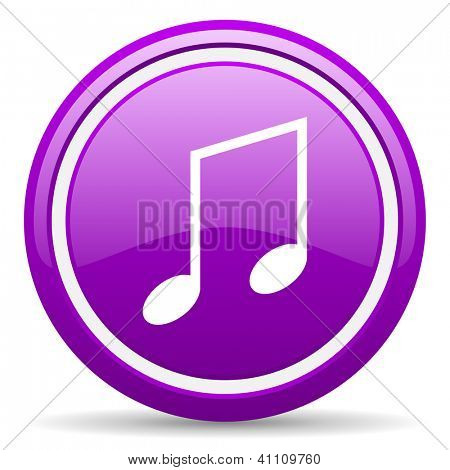 violet glossy circle web icon on white background with shadow