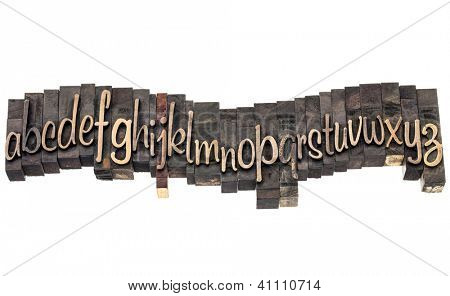 English alphabet in wavy row - letterpress wood type printing blocks, a script font
