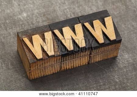 word wide web acronym - www in vintage letterpress wood type blocks on a grunge metal background