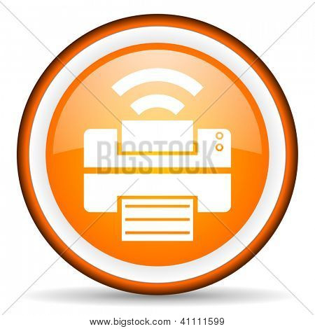 orange circle glossy web icon with pictogram on white background