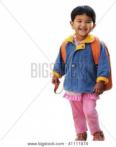 Pretty Little Indian Pre-school Girl Ready To Go To School In Very Cheerful And Happy Mood Wearing C