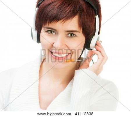 Smiling Young Female Wearing A Headset Against White