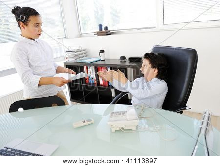 Business children working as real adult people at office